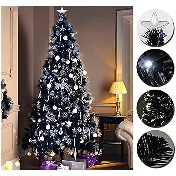 luxury pre lit pencil slim black christmas tree w white blue 80 to 200 led lights fiber optic tree with star at top 3ft black slim tree - Black Christmas Tree