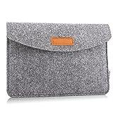 MoKo Universal 7-8 Zoll Felt Sleeve Hülle - Tragbare Filz Schutzhülle Tasche für Apple iPad Mini 1/2 / 3/4, Samsung Galaxy Tab S2 8.0, E 8.0, Tab A 8.0, Tab 4 7.0/8.0, Tab E Lite 7.0, Hellgrau