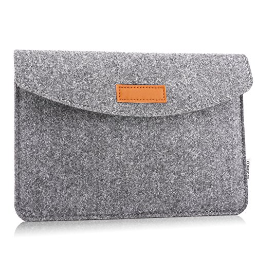 MoKo Amazon 7-8 Zoll Felt Sleeve Hülle - Tragbare Filz Schutzhülle Tasche Fire HD 8 2016, Fire Kids Edition(5th Gen, 2015), All-New Kindle(8th Gen, 2016), Kindle Oasis, Fire 7, Hellgrau