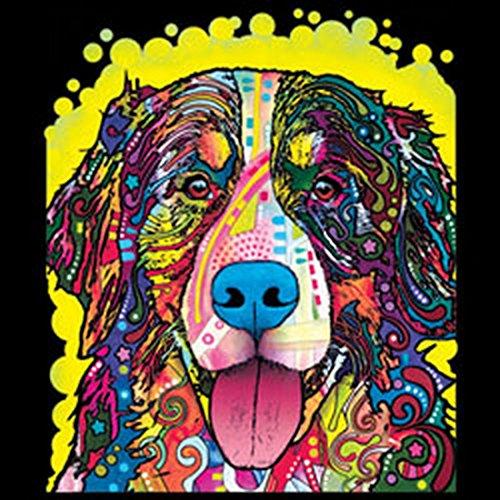 Pop Art Style Tank Top Neon Berner Sennenhund Shirt 4 Heroes Beach Tanktop Herren Geburtstag Geschenk geil bedruckt Schwarz