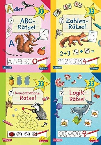 Lernspiele für den Schulanfang (4x1 Exemplar): ABC-Rätsel - Zahlen-Rätsel - Konzentrations-Rätsel - Logik-Rätsel (Pixi kreativ 4er-Set, Band 22)