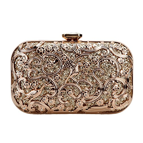 Bonjanvye Bird Print Purses and Handbags for Women Speacial Hand Clutch for Ladies Gold (Betty-bügel)