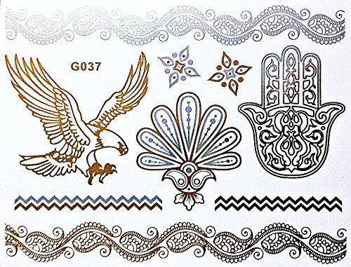 Wunderschönes Flash Einmal Klebe Metallic Tattoo Gold Silber für Arme Finger Körper ideal für Strand Disco Party Hochzeit Feiern Fasching G37 (Finger-tattoos)
