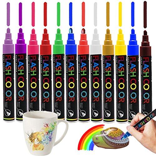 Pennarelli acrilici 12 Colori per Pittura rupestre, Carta, Vetro, Metallo, Tela, Legno, Ceramica, Pittura su Tela, Artigianato Fai-da-Te, Uovo di Pasqua