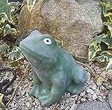 Radami Steinfigur Frosch Gartenfigur Figur Steinguss frostfest Dekofigur Gartendeko Grün