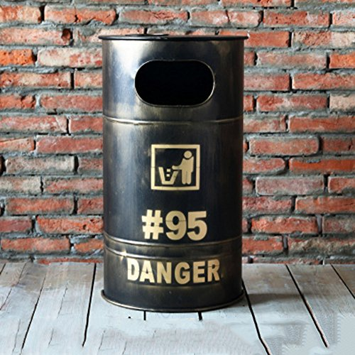 Ging bidone della spazzatura retrò,ferro barile deposito casella personale creativo moda pattumiera bar caffetteria ornamenti bidoni dell'immondizia-h 40x22x70cm(16x9x28inch)