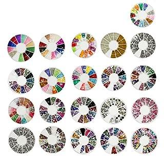 COM-FOUR® 21tlg Set Nagel Kunst Dekorationen Nail Art Steine Slice Dekoration Rhinestones Strasssteine Straßsteine in einer runden Palette (Mini Glitzer Mix 5)