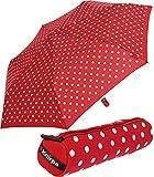 Knirps Mini Taschenschirm Slim Duomatic im Neopren-Case gepunktet - Polka Dots rot
