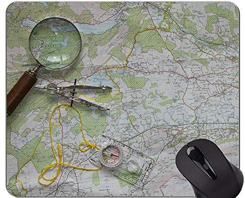 Karten-Spiel-Mausunterlage, Hintergrund mit Kompass-Bild-Karten-Mausunterlage mit genähtem Rand