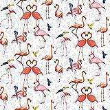 Qualitativ hochwertiger Jerseystoff mit Flamingos und