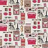 Tela Mercería - rosa (Colección ABANICOS - rosa) - 100% algodón suave | ancho: 140cm (1 metro)