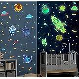 121Pcs Sticker Muraux Lumineux Espace,Autocollant Mural Fusée Pour Chambre Garçon,Autocollant Muraux Planète,Sticker Mural Fl