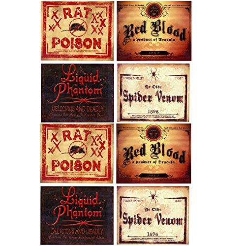 Spassprofi 8 Horror Flaschenaufkleber Aufkleber für Flaschen Halloween Horror Beschriftung Etikett Etiketten (Halloween Flaschen Etiketten)