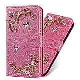 Flip Ledertasche für Samsung S10 Plus,Stand Funktion Diamond Loves Sparkle Billig Glitter Glitzer Musterg Soft Slim Retro Bookstyle Karteneinschub Magnet Wallet Hülle Schutzhülle -