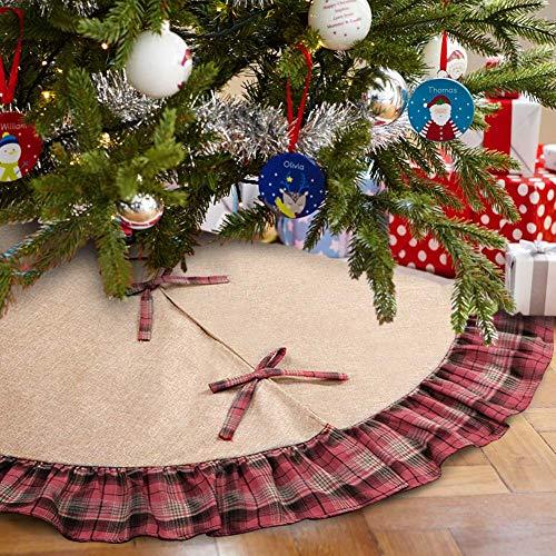 Aytai 122cm Burlap árbol Navidad faldas negro cuadros