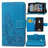 Guran Custodia in Pu Pelle Lucky Clover Flip Cover per Nokia Lumia 925 Smartphone avere Portafoglio e Funzione Stent Modello di Trifoglio Fortunato Copertura Protettiva - Blu
