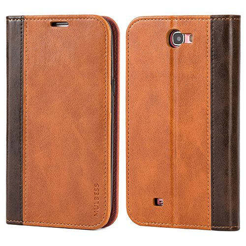 Mulbess BookStyle Custodia per Samsung Galaxy Note 2, Cover a Libro Samsung Galaxy Note 2, Custodia in Pelle Samsung Galaxy Note 2 Cover per Samsung Galaxy Note 2, Marrone
