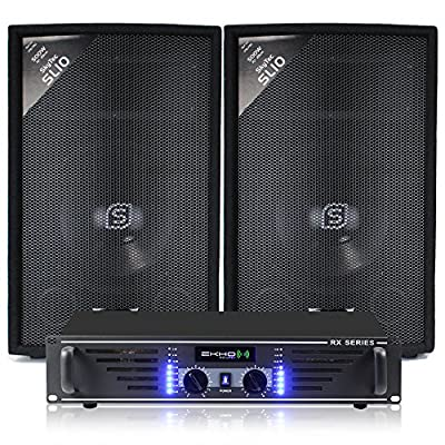 Skytec 2 x 10 Inch Speakers + Ekho Amplifier + Cables 1000W
