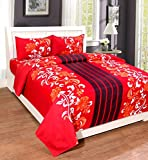 Home Elite Microfiber 3D Double Bedsheet with 2 Pillow Covers - Floral, Multicolour