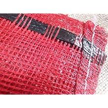 200X Yuzet 52cm x 85cm), diseño de flores, color rojo cerca neta tejido saco Leña Leña verduras Bolsa