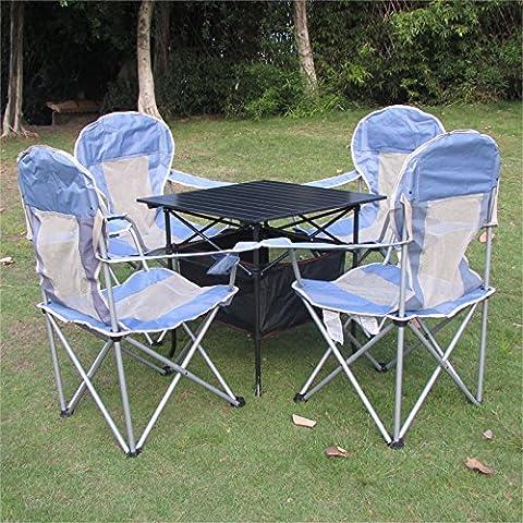 MCCOcio al aire libre plegable mesa y silla portátil motor barbacoa camping picnic mesa y sillas juego combinación , light blue