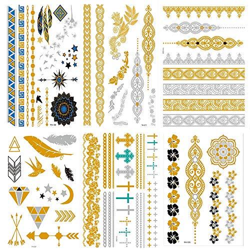 DASHAN Tatuajes de Destello, Etiqueta engomada del Tatuaje Temporal metálico, Oro, Plata,...
