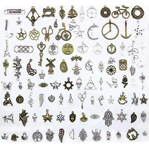 Lecimo100pcs Tierform Silber Mix Charm Anhänger Schmuckzubehör DIY Handwerk Geschenk