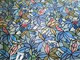 GLASS FILM WALA FROSTED STAINED GLASS ENGLISH COLOUR FLORAL LEAVES (45cmX200cm)
