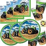 HHO Traktor Partyset 48tlg. - Teller Becher Servietten für 16 Personen