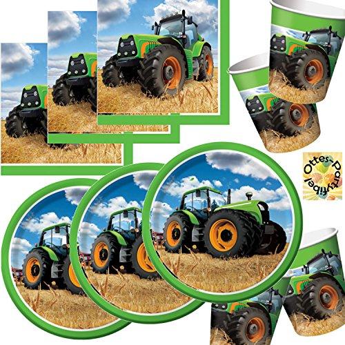 HHO Traktor Partyset 48tlg. - Teller Becher Servietten für 16 Personen - Traktor-becher