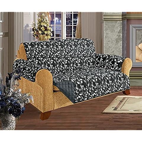 Elegante comodidad acolchado diseño de hojas Protector de muebles Reversible para Mascota Perro Niños -2, algodón, Leaf Design Black, Love