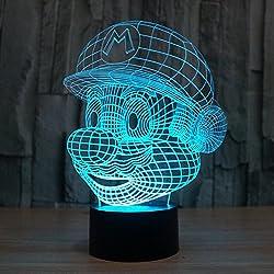 3D Lámpara de Escritorio Win-Y LED 7 del tacto del color de la lámpara del dormitorio del hogar decoración de la oficina para los niños y regalo de Navidad de cumpleaños (G)