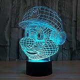 3D Optische Illusions-Lampen Win-Y LED-Schreibtisch Tischlampe 7 Farb-Touch-Lampen-Ausgang Schlafzimmer-Büro-Dekor für Kindergeburtstag Weihnachtsgeschenk (E)