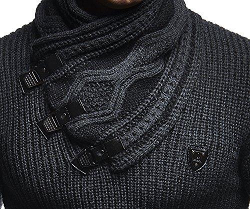 LEIF NELSON Herren Pullover Hoodie Strickpullover Sweater Sweatshirt Sweatjacke Grobstrick LN5195 Anthrazit-Schwarz