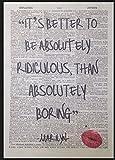 MARILYN MONROE Zitat absolut lächerlich Vintage Wörterbuch Kunstdruck Bild