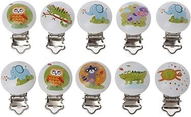 5 Stück/Menge Holz Baby Kinder Schnuller Halter Clip Infant Niedlichen Tier Gedruckt Runde Nippel Verschlüsse Für Baby Produkt