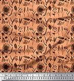 Soimoi Orange Samt Stoff Quecke und Sonnenblumen Blumen-