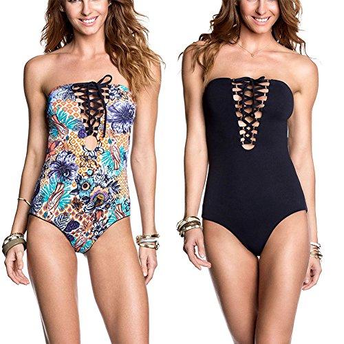 DFXIU Women Reversible Double-Sided Printing Black Blue Flower Printed Bathing Suit Monokinis