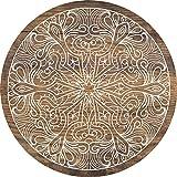 Cuadros Lifestyle 2D-Wandobjekt aus Holz   Mandala   Zeichen   Wandteller   Holzbild   Shabby-Look   Landhaus   Vintage   Holzobjekt   Deko   Holzdruck   Geschenk, Größe:ca. 30x30cm