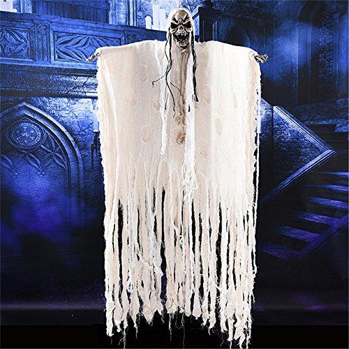 YHOOEE Halloween Dekoration Ghost Requisiten Lange Haare Gruselige Schädel Karneval Horror Hängen Geister Ornamente Beängstigende Klang Augen Leuchten,White
