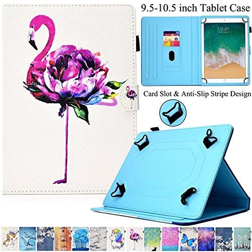 Universal 24,1-26,7cm Fall, artyond Mehrwinkel PU Leder Karten Slots Flip Anti-Rutsch Streifen Ständer Slim Zusammenklappbar mit Magnetverschluss Schutzhülle für Alle 24,1-26,7cm Tablet, Flamingo (Nextbook I Pad Fällen)