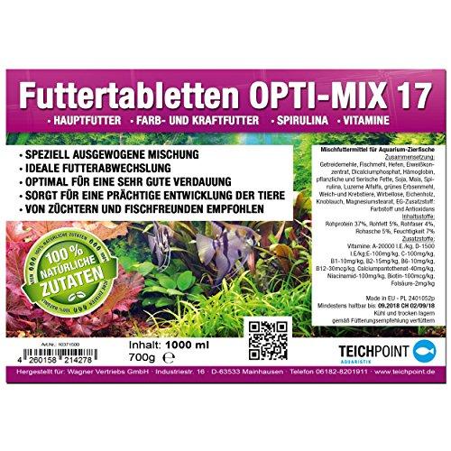 Teichpoint 1000 ml (700g) Premium TOP Futtertabletten Opti-Mix 17, Tablettenfutter Mix für Aquarium Zierfische Tabletten - 2