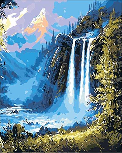 hlen Kits || Berg Wasserfall Landschaft 50 x 40 cm || Malen nach Zahlen, DIGITAL Ölgemälde (Ohne Frame) (Cartoon Halloween Schablonen)