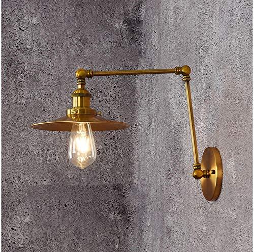220V Loft Style vintage E27Wall Wandleuchte Swing Arm Nachttischlampe Moderne Messing Bronze überzogene Wandleuchten Eisen Lampenschirm, Gold -