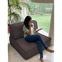 PRITI - Cotton Codrai - Brown Folding Lazy Sofa Pillow New Modular Sofa Floor Chair, Living Room Interior Home…