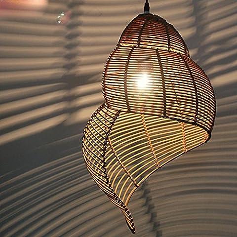 lampe de conque lampe de lustre de style chinois restaurant asiatique du Sud Creative Arts simple terrasse rotin pastoral canne lustre