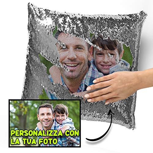 59a1e17f7a My Digital Print - Cuscino Personalizzato con Foto, Cuscino di Paillettes  Argento, 40x40cm,
