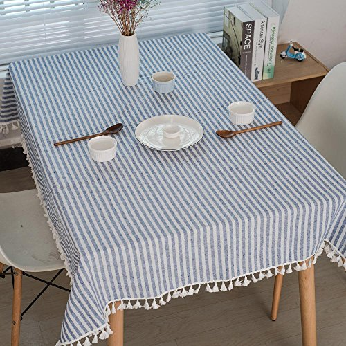 ual Dining Essentials Vintage blau und weiß Oblong Tischdecke chinesischen klassischen Baumwolle und Leinen 140 * 160cm, 140 * 160cm ()