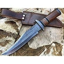 Perkin Knives Cuchillo hecho a mano del bowie del cuchillo de caza de Damasco con la envoltura de cuero