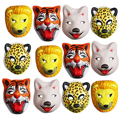 foci cozi Jungle Safari Zoo Themed Party Animal Mask Full Face Party Favors Supplies:Tiger, Lion, Fox and Leopard for Boys Birthday, Baby Shower or Home décor-12 pcs ...